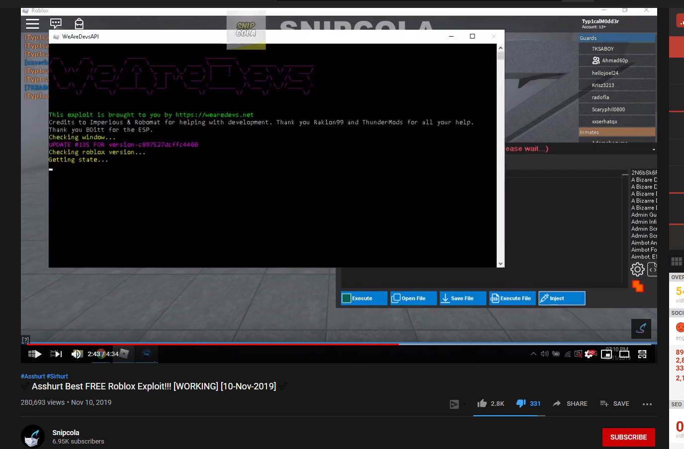 Hexus Roblox Download Free Roblox Injector Cw Snipcola Aka Paradox Exploit Dev Is Discord Token Grabber And Could Be Ip Grabber