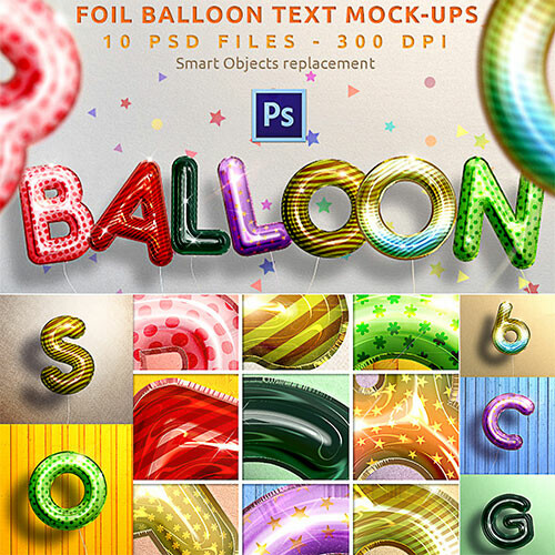 Realistic Balloon Text Mockups