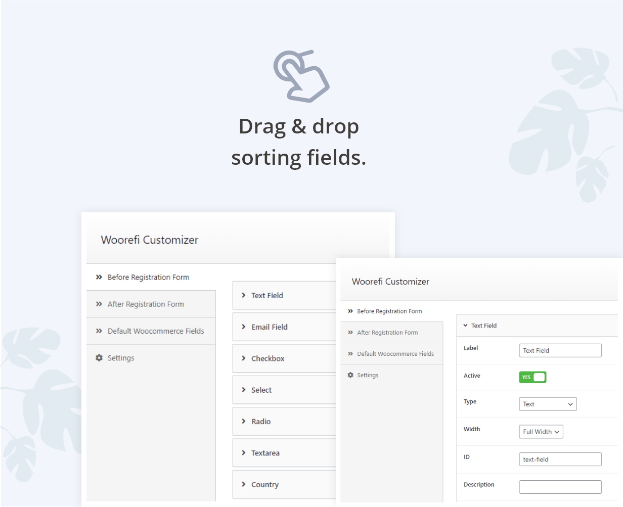 Woorefi | WooCommerce Custom Registration Fields | Drag