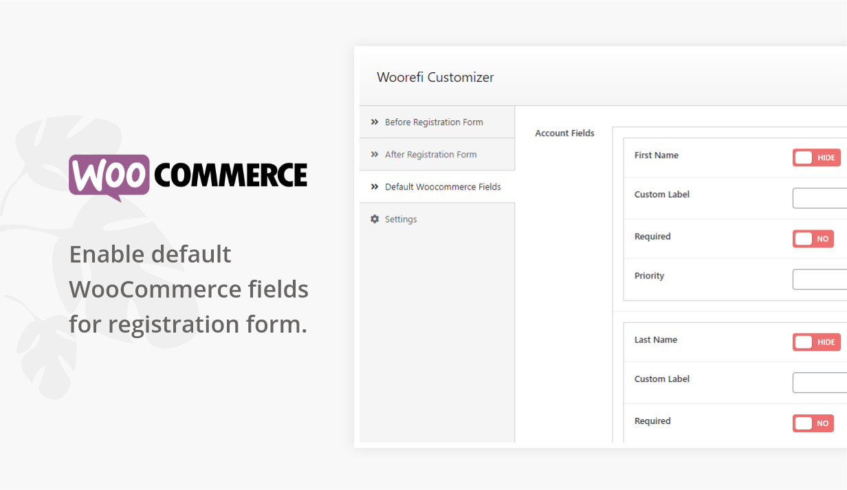 Woorefi | WooCommerce Custom Registration Fields | Enable WooCommerce