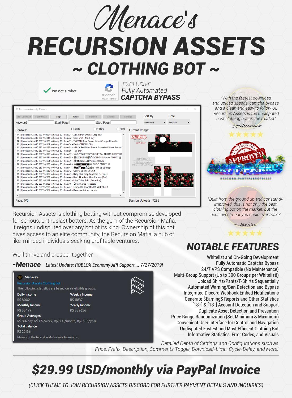 Menace's Recursion Assets Clothing Bot | ⚡ Undisputed