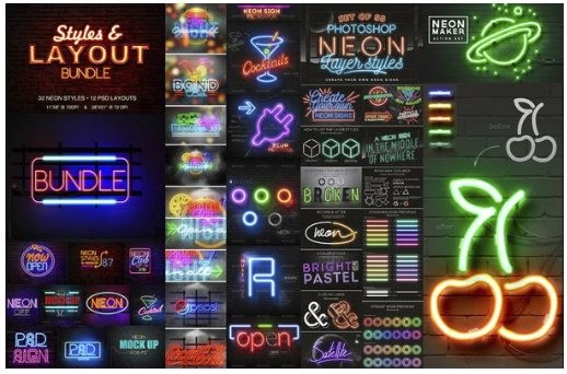 Neon Light Sign Photoshop Actions + Neon Styles Bundle + Neon layer styles for Photoshop + Neon Text PSD Mockup Template + Neon Maker Action Set