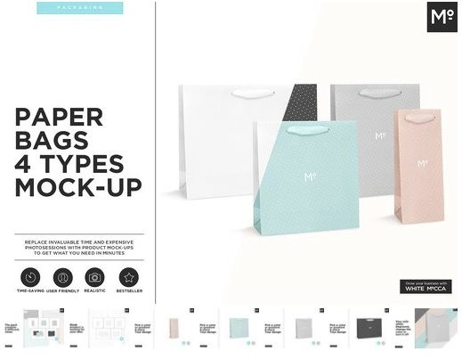 Paper Bags 4 Types Mockup Set