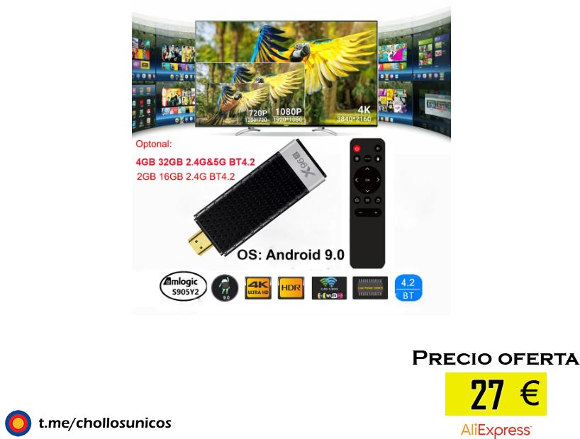 TV Stick X96S Android 9,0, llave electrónica para TV